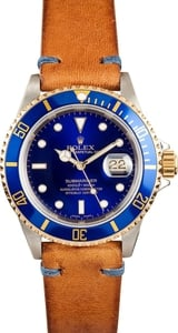 Pre-Owned Mens Rolex Submariner Two Tone with Blue Face 16613