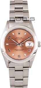 Men's Pre Owned Rolex Date Stainless Salmon Dial 15200