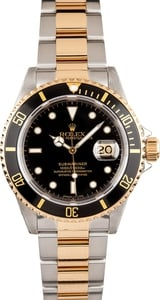 Used Rolex Men's Submariner Steel & Gold Black Face 16613