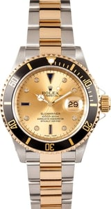 Men's Used Rolex Submariner Two Tone Serti Diamond Dial