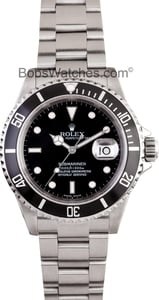 Mens Rolex Submariner 16610 Black Bezel