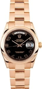 Rose Gold Day Date 118205 Black Dial
