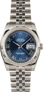 Rolex Datejust Blue 116234 Fluted Bezel