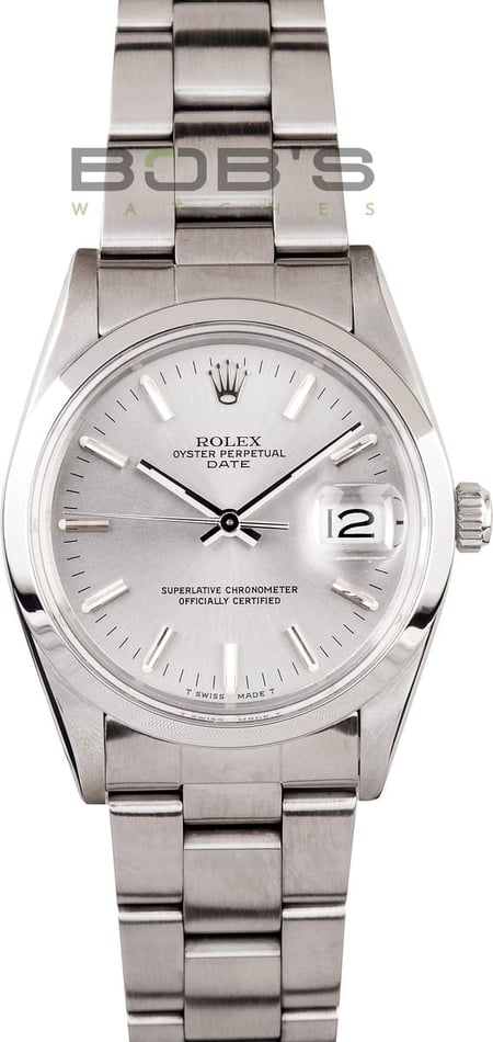 Rolex Date Stainless Steel W/ Silver Dial 15000