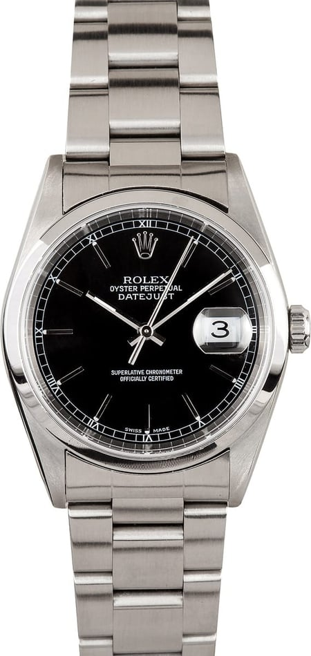 Pre-Owned Rolex Men's 36 mm Stainless Steel Oyster Perpetual Datejust Watch 16200