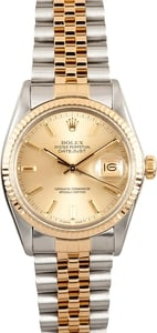 Datejust Rolex Stainless/Gold 16013 Men's