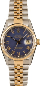 Pre-Owned Rolex Datejust 16013 Blue Roman Dial