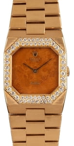 Rolex Cellini 4651 Exotic Wood Dial Diamond Bezel
