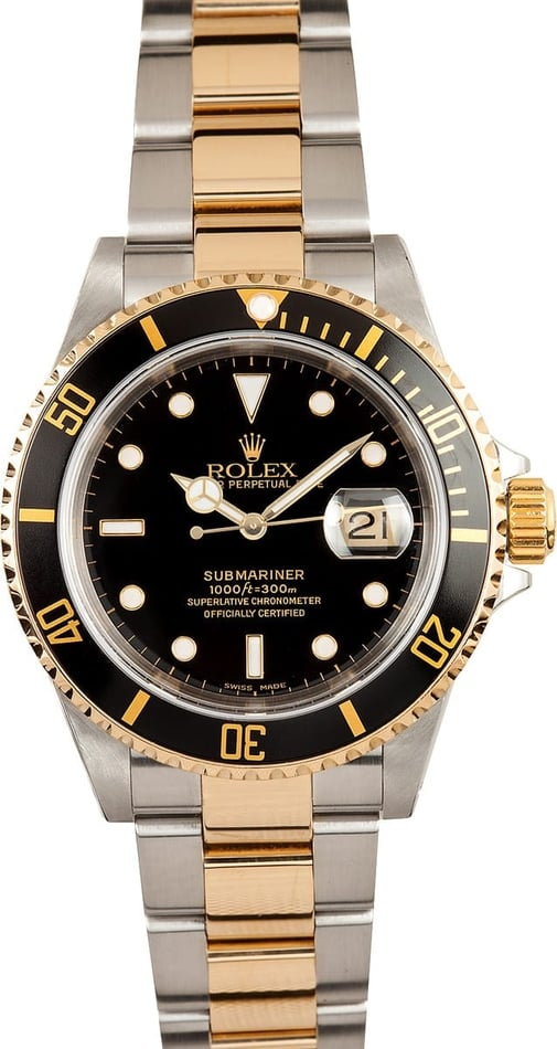 Used Rolex Submariner Two Tone with Black Dial Model 16613