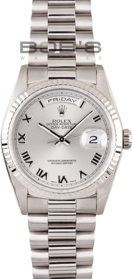Pre-owned Mens Rolex President 18k White Gold 118239