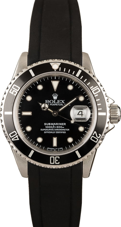 Pre-Owned Rolex Submariner 16800 Rubber Strap