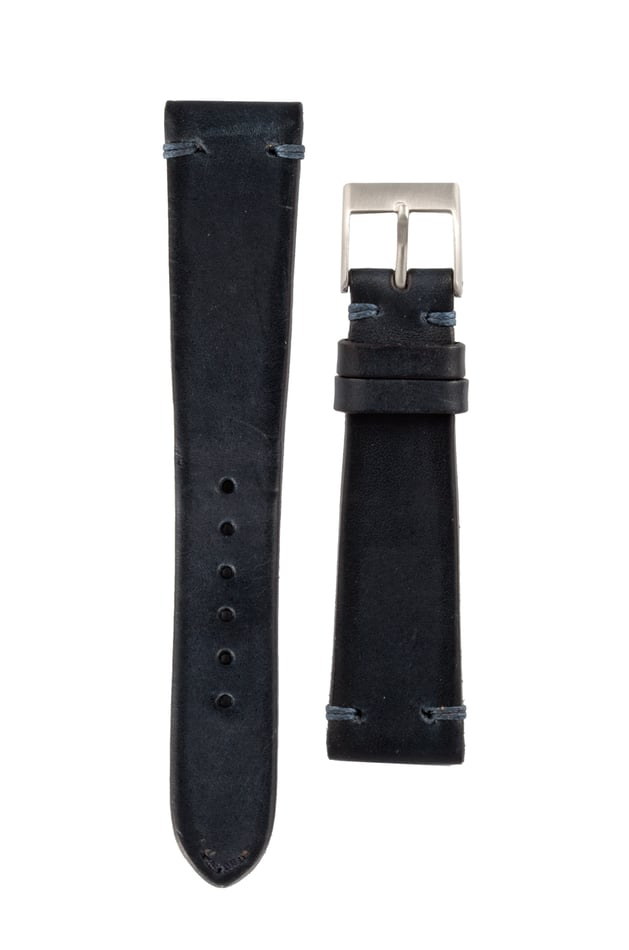 Italian Leather Strap Blue w/ Blue Stitch 20mm