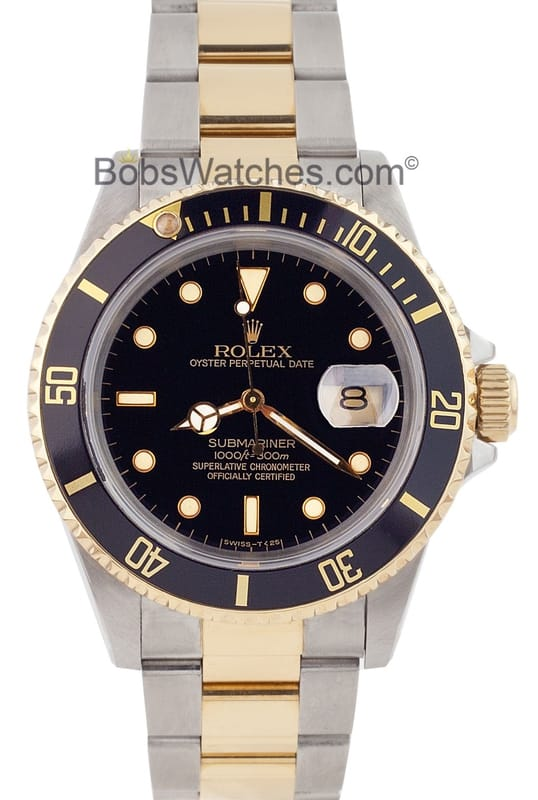 Rolex Submariner Steel & Gold Blue Face 16613 - Bob's Watches