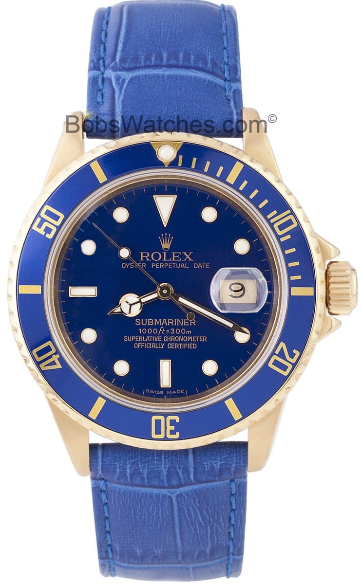 Rolex Submariner 18k Gold Blue Dial 16808 Get Exclusive