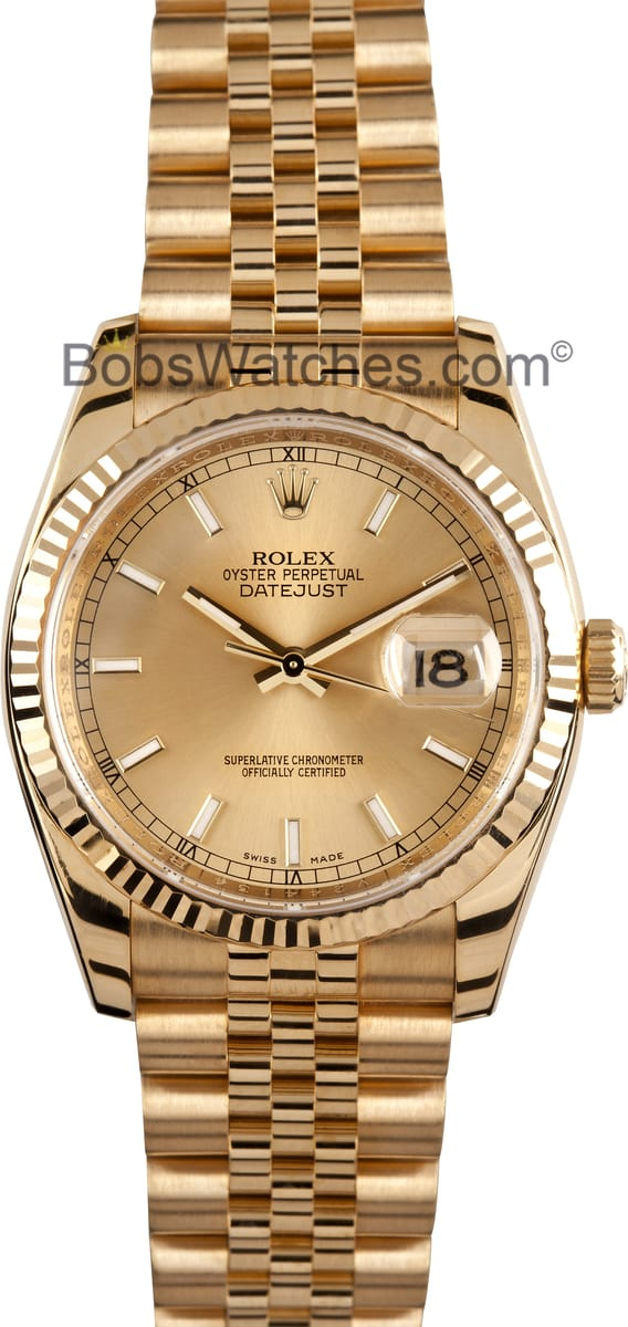 mens used rolex watch 116238 18k gold at bobs watches