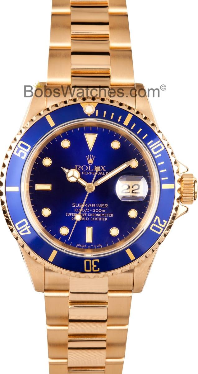 Used Rolex Submariner >> Rolex Submariner Blue Dial 18k Gold 16618 - Low Prices ...