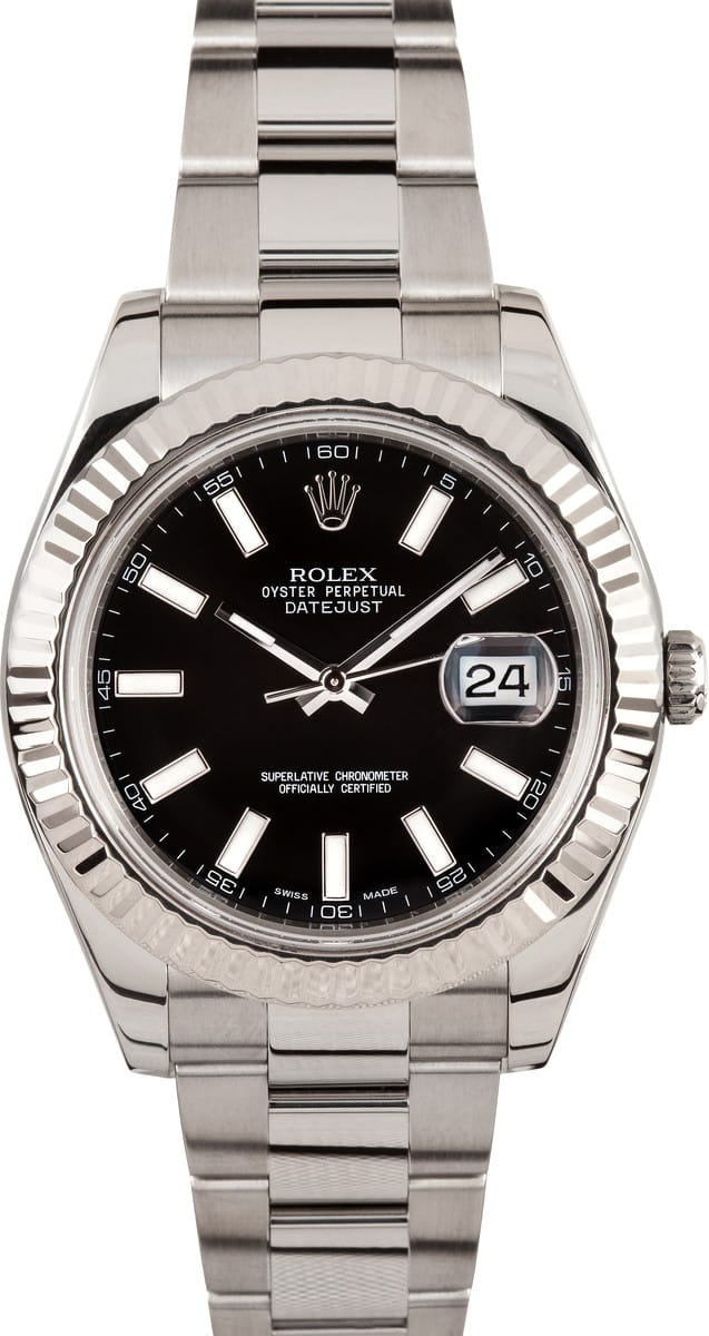 02b5d57e460 Rolex DateJust II Black Luminous Dial 116334 - Save At Bob s Watches