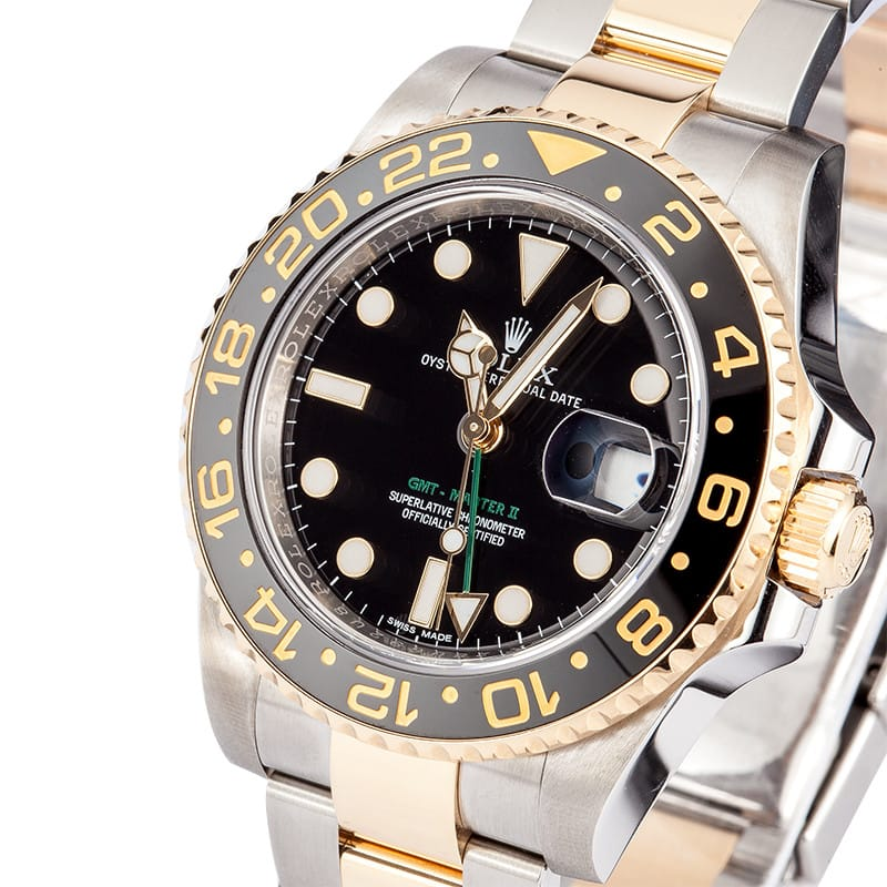 used rolex gmt master ii stainless steel and gold mens. Black Bedroom Furniture Sets. Home Design Ideas