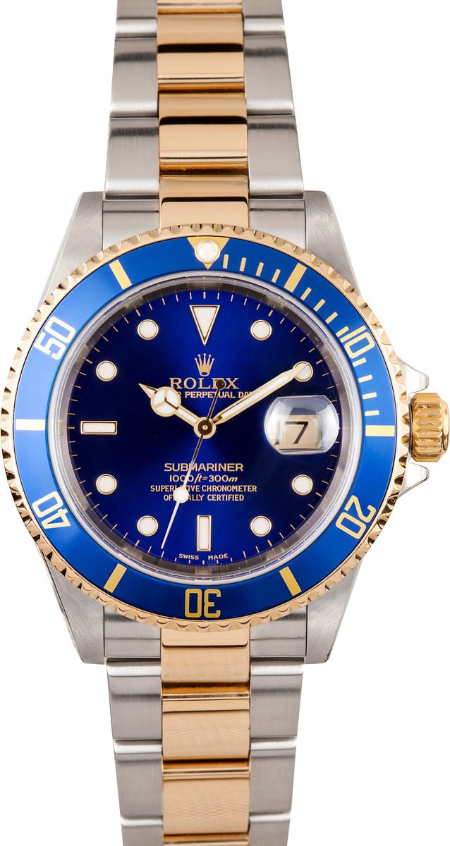 107079 used rolex submariner steel gold blue face 16613 save at bob 39 s watches for Submariner rolex blue