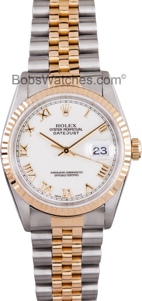 Certified Pre Owned >> Mens Rolex Datejust Roman Dial 16233 - Find Best Prices