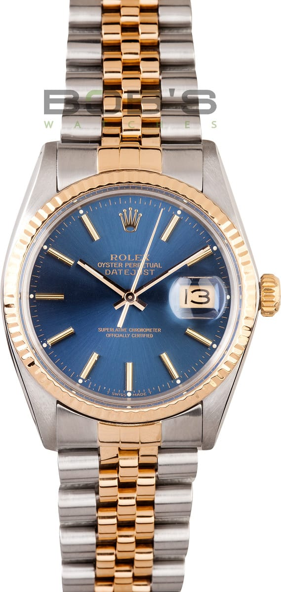 Used Men\u0027s Rolex Oyster Perpetual DateJust Stainless Steel and Gold 16013