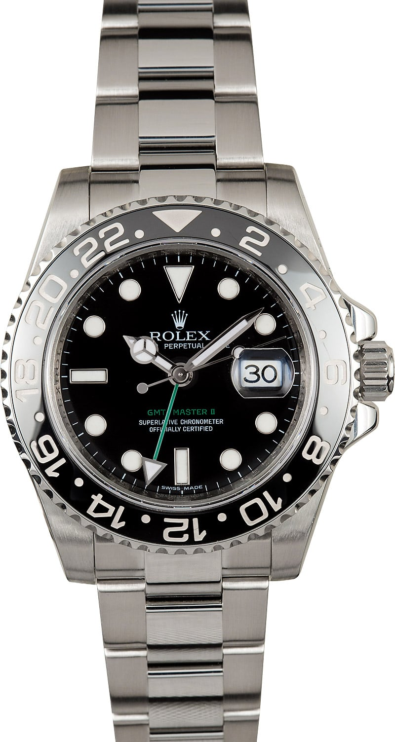 Mens rolex gmt master ii 116710 master ii stainless ceramic black dial for Rolex gmt master