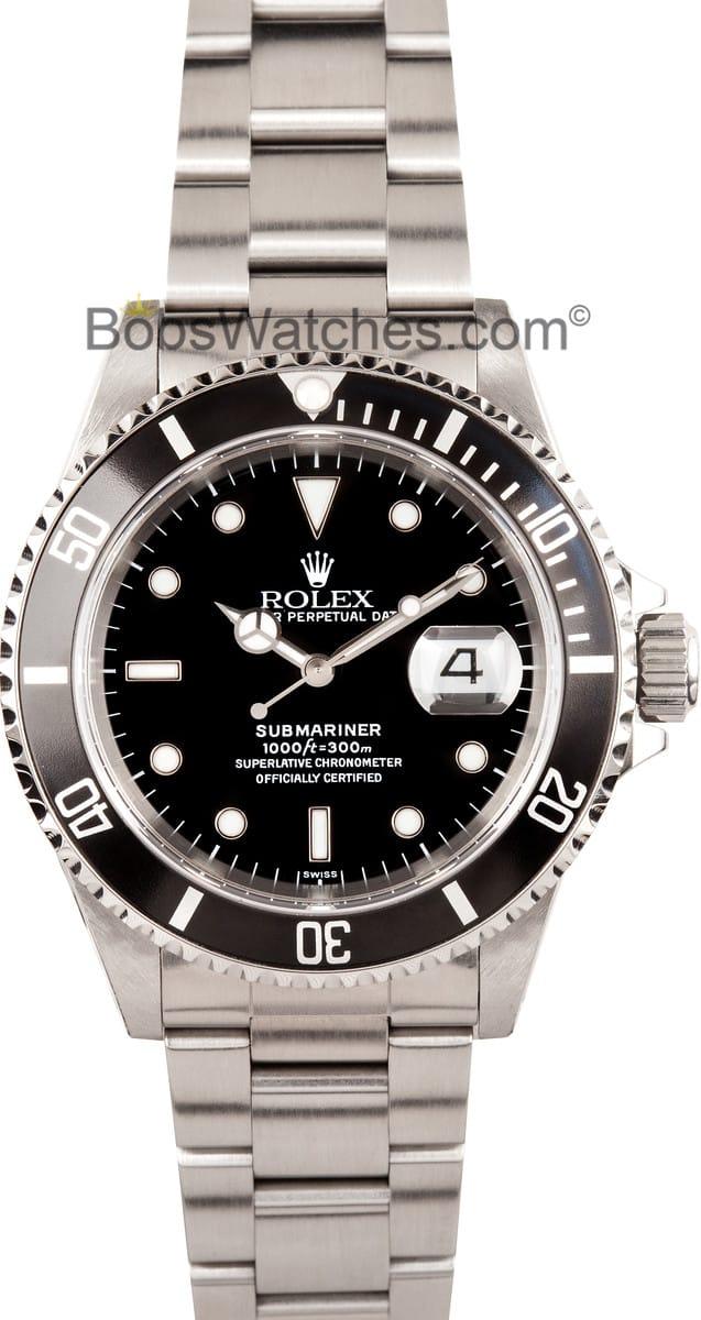 rolex submariner black face 16610
