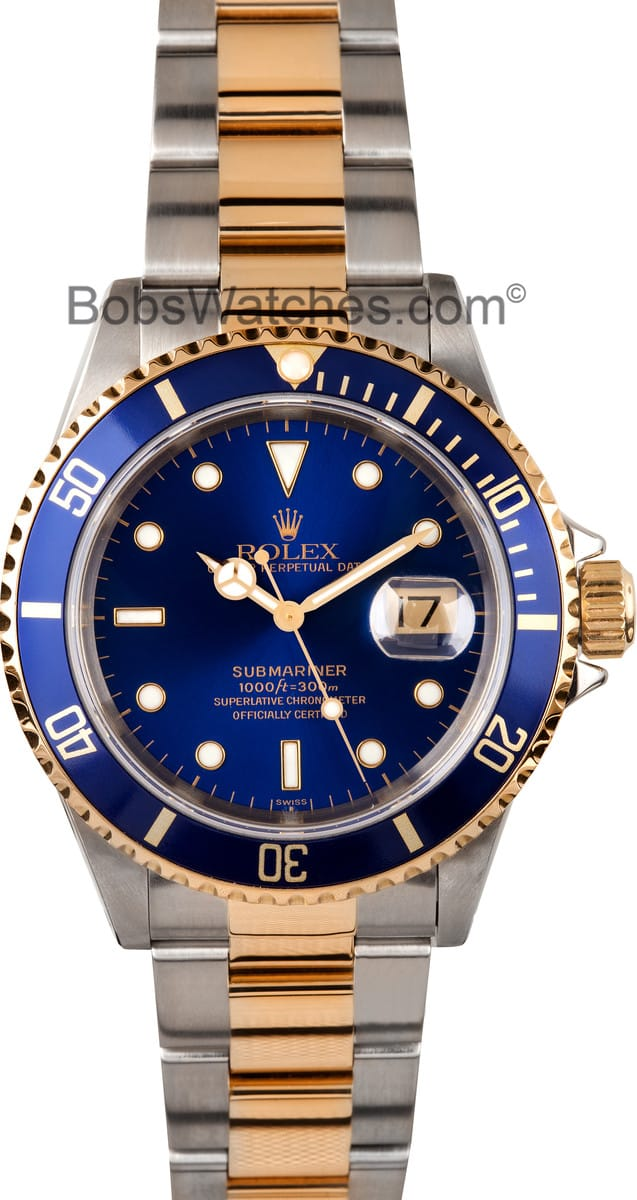 Best value on authentic rolex 16613 watches at bob 39 s for Submariner rolex blue