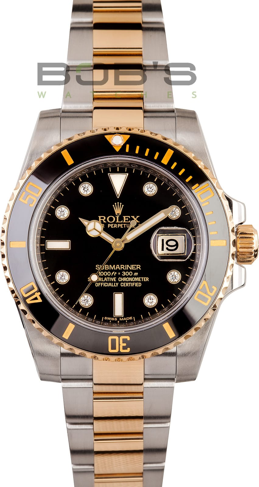 mens rolex diamond submariner 116613 two tone. Black Bedroom Furniture Sets. Home Design Ideas