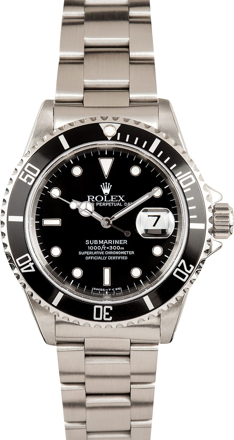 Certified Pre Owned >> Submariner Rolex Black 16610