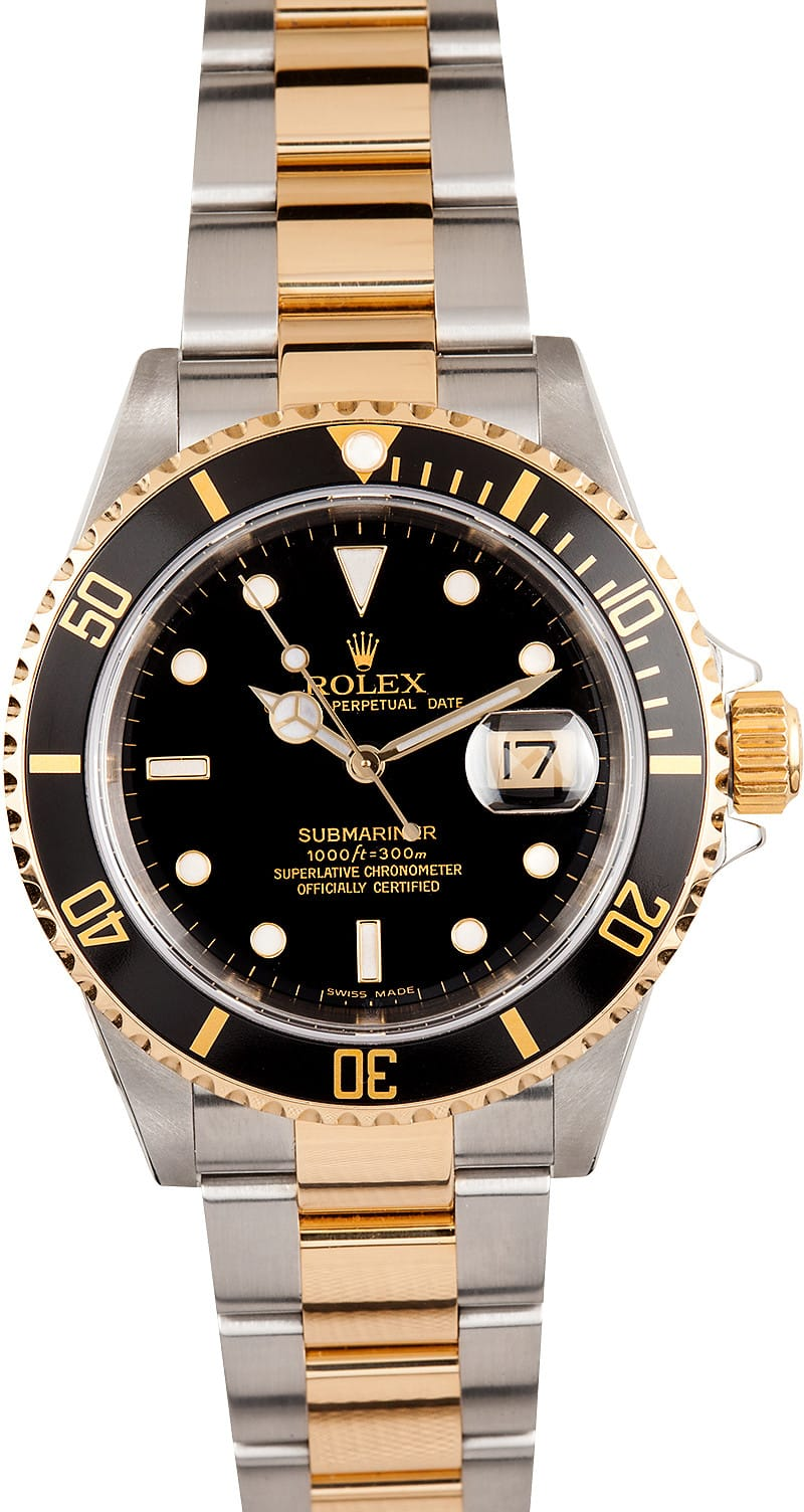 Men's Rolex Submariner Steel & Gold Black Face 16613 - Bob ...