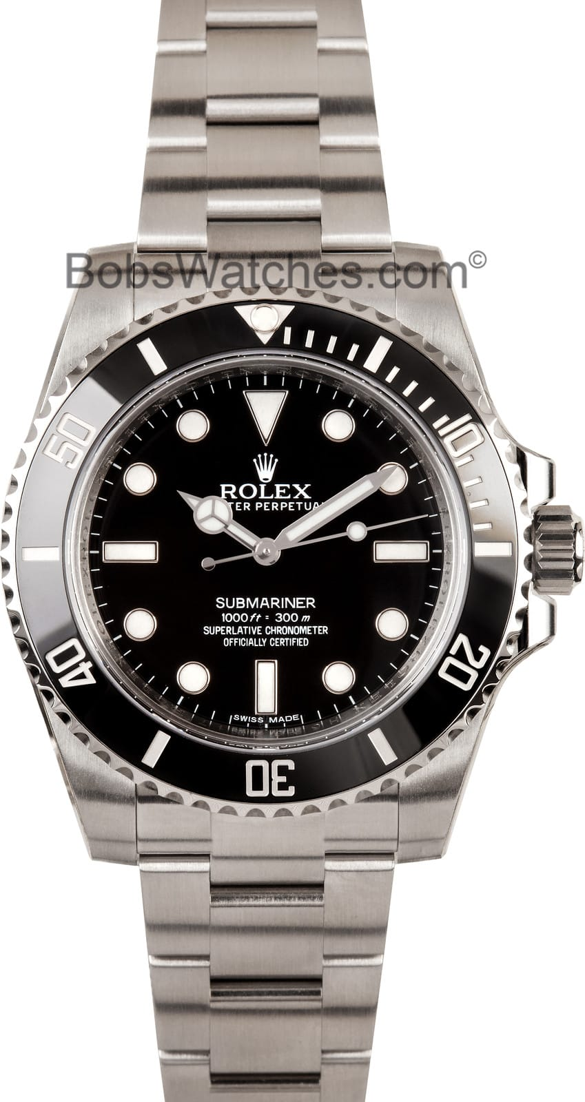 ceramic rolex submariner 114060 100 authentic watch at bobs. Black Bedroom Furniture Sets. Home Design Ideas