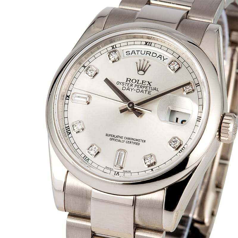 7270167ef7f 18K White Gold Rolex Day Date Diamond Dial
