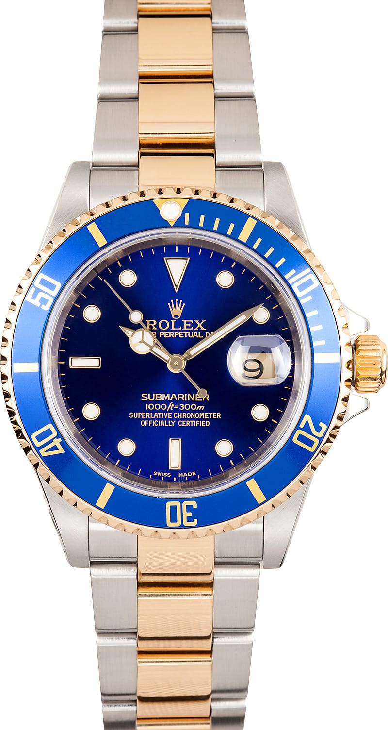 Great value on authentic rolex ref 16613 submariner watches at bob 39 s for Submariner rolex blue