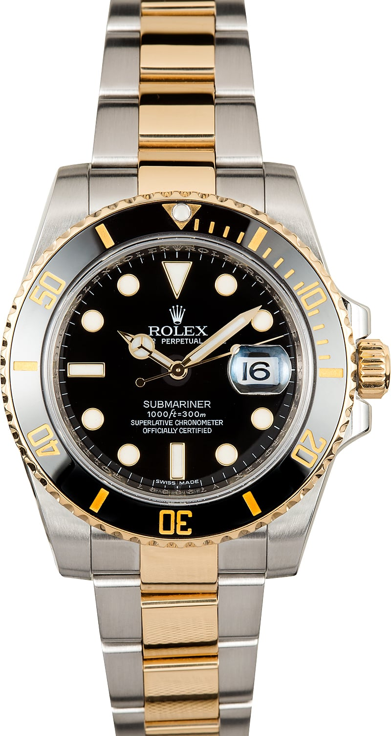 rolex submariner two tone dial gold bezel 116613 certified 100. Black Bedroom Furniture Sets. Home Design Ideas