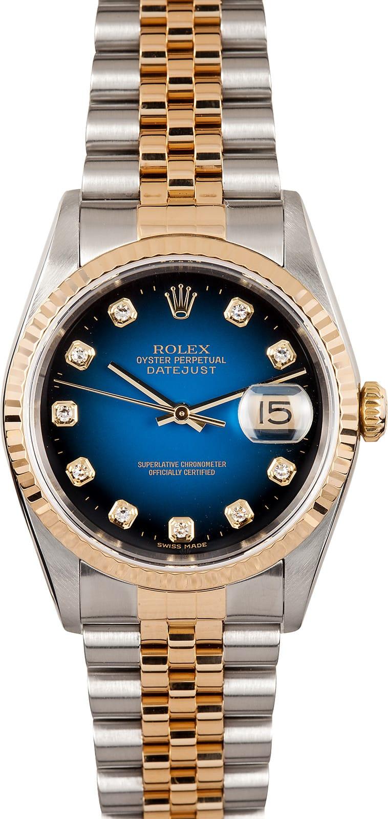 Rolex Datejust 16233 Blue Vignette Diamond Dial