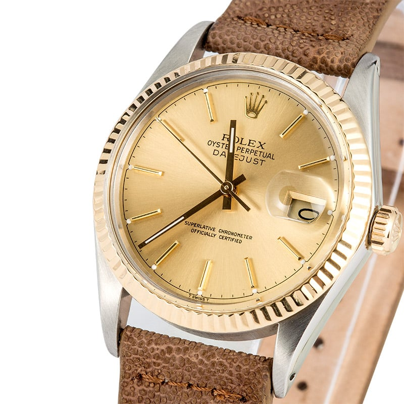 Rolex Datejust Two,Tone 16013 Leather Strap