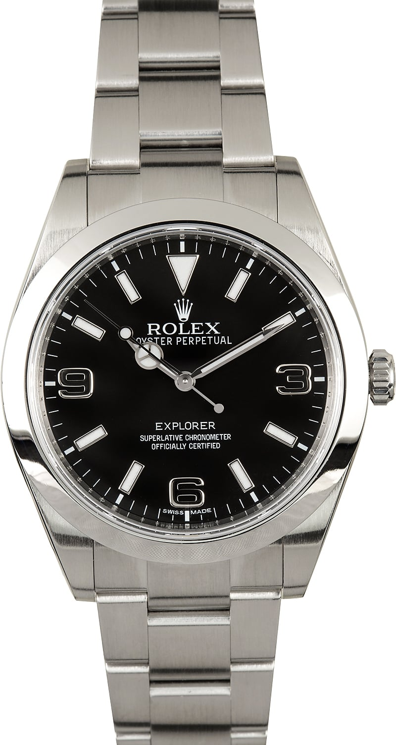 rolex explorer 214270 black dial certified preowned
