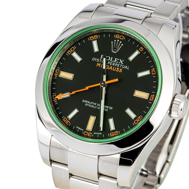 Rolex milgauss green anniversary 116400gv for Rolex milgauss