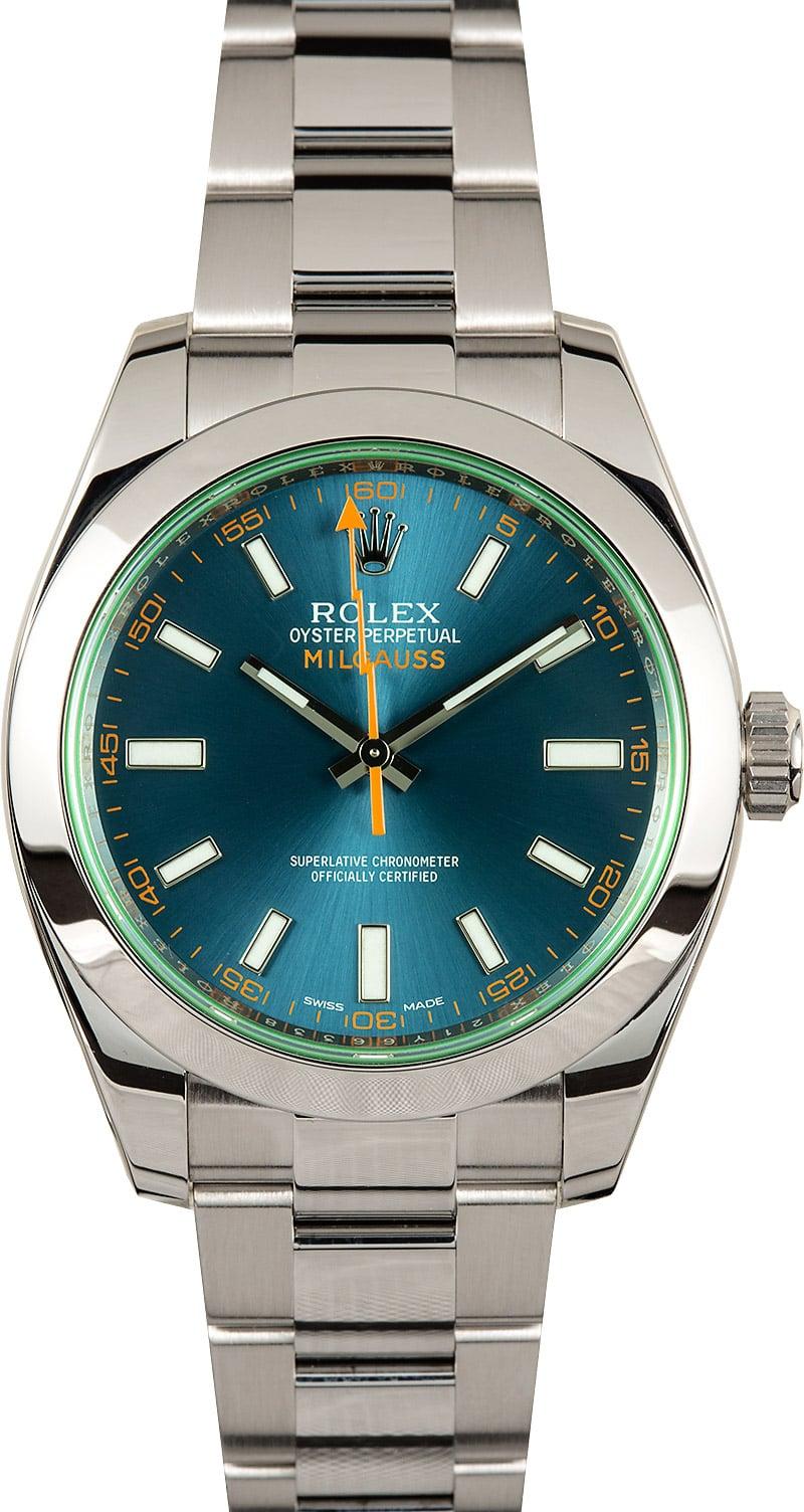 Rolex milgauss blue dial 116400gv for Rolex milgauss