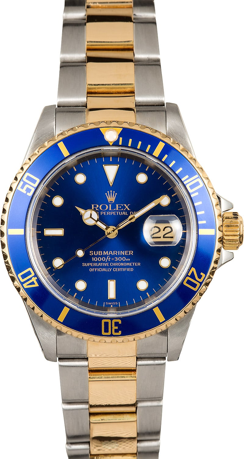 Men 39 s rolex submariner two tone blue face model 16613 for Submariner rolex blue