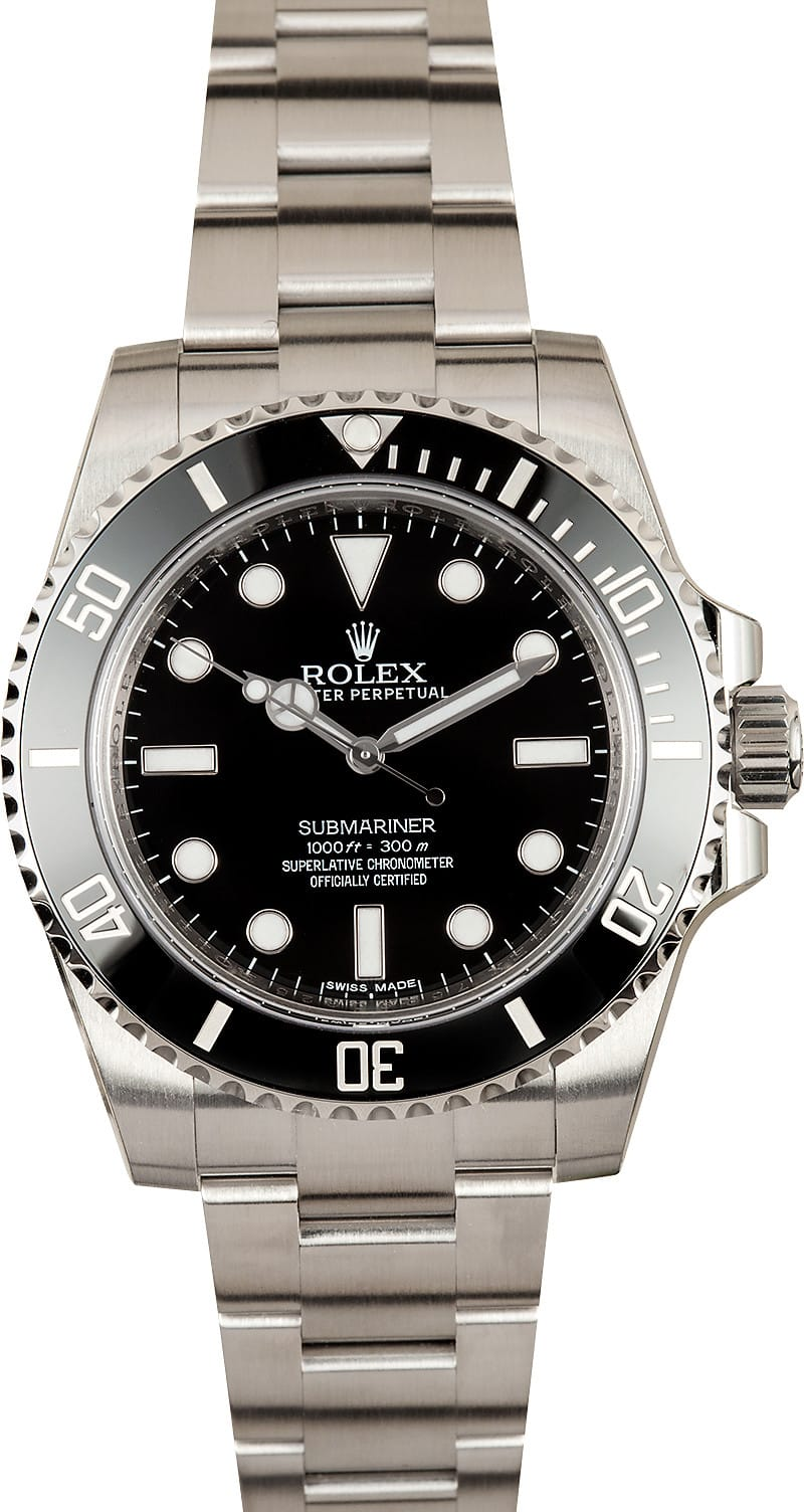 new rolex submariner 114060 100 authentic watch at bobs. Black Bedroom Furniture Sets. Home Design Ideas