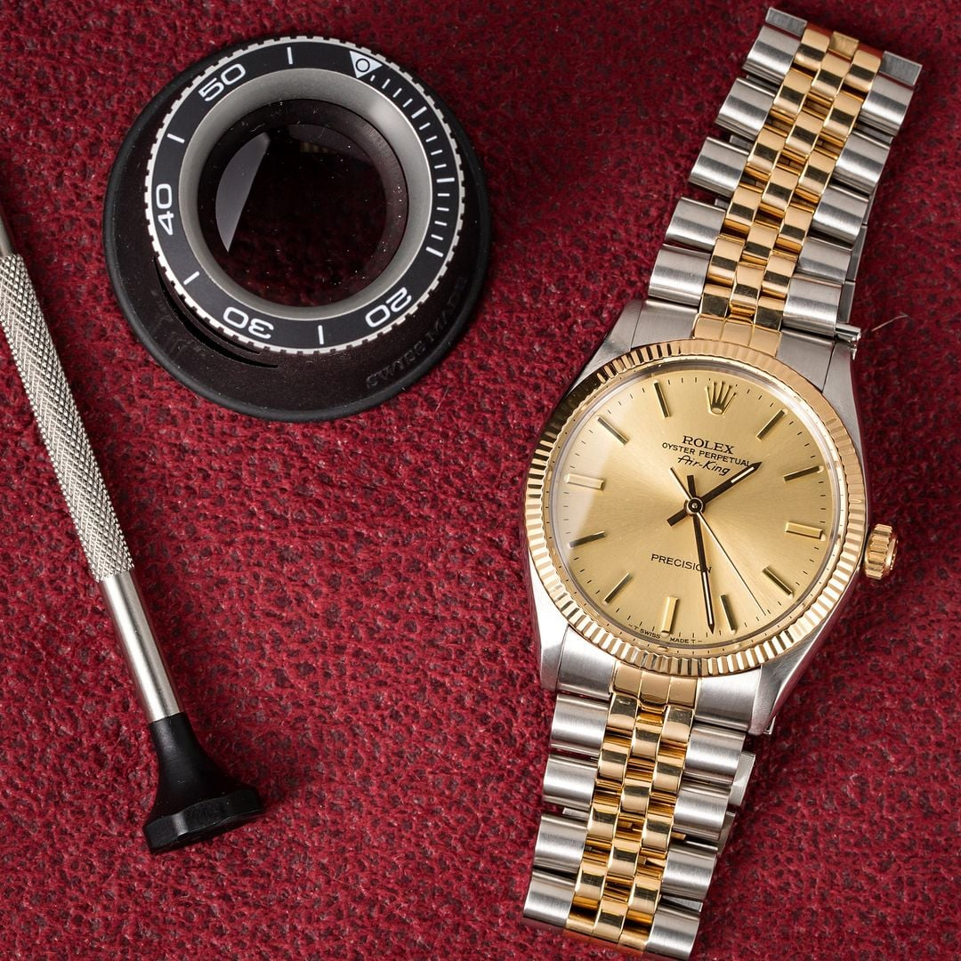 Men 39 s rolex air king 5501 two tone for Rolex air king