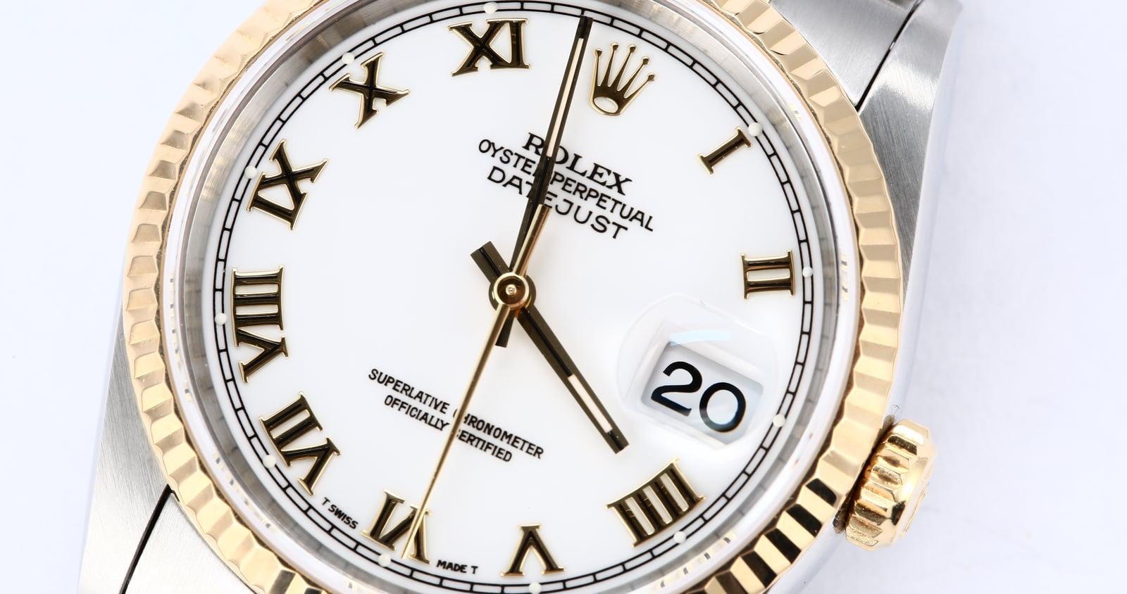 Rolex datejust 16233 white roman dial genuine rolex datejust 16233 white roman dial amipublicfo Gallery