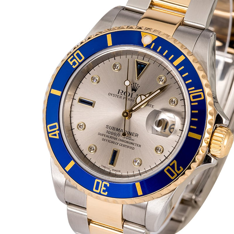 Image result for Submariner ref. 16613 with diamond and sapphire Serti dial