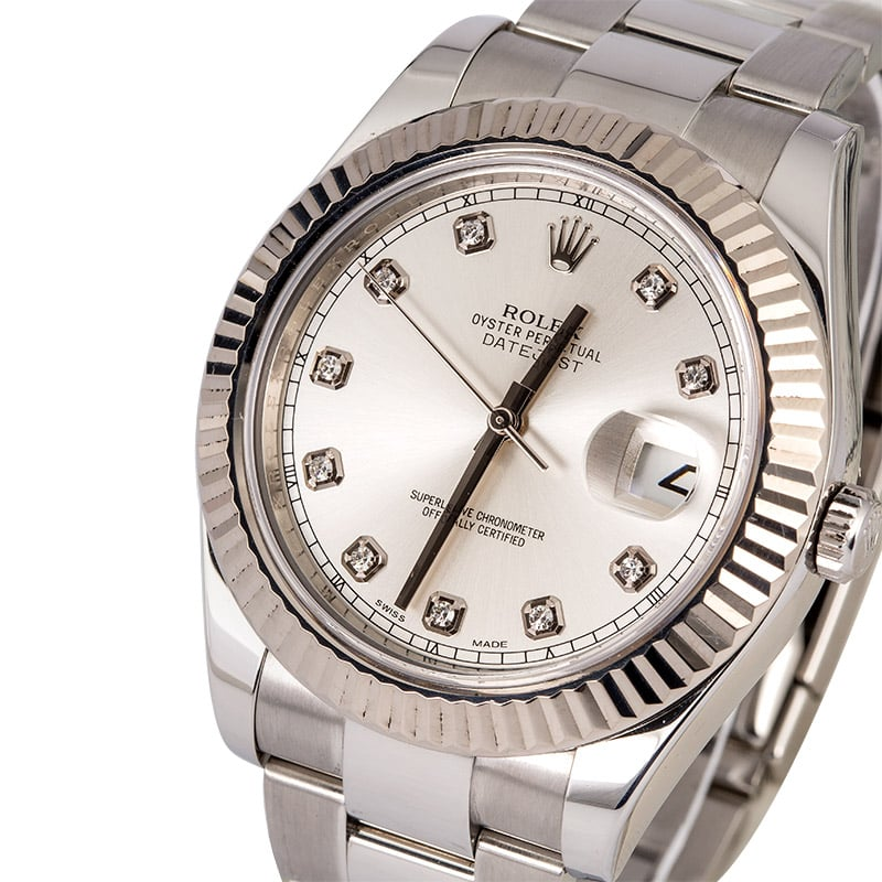 Rolex Datejust II Silver Diamond Dial 116334