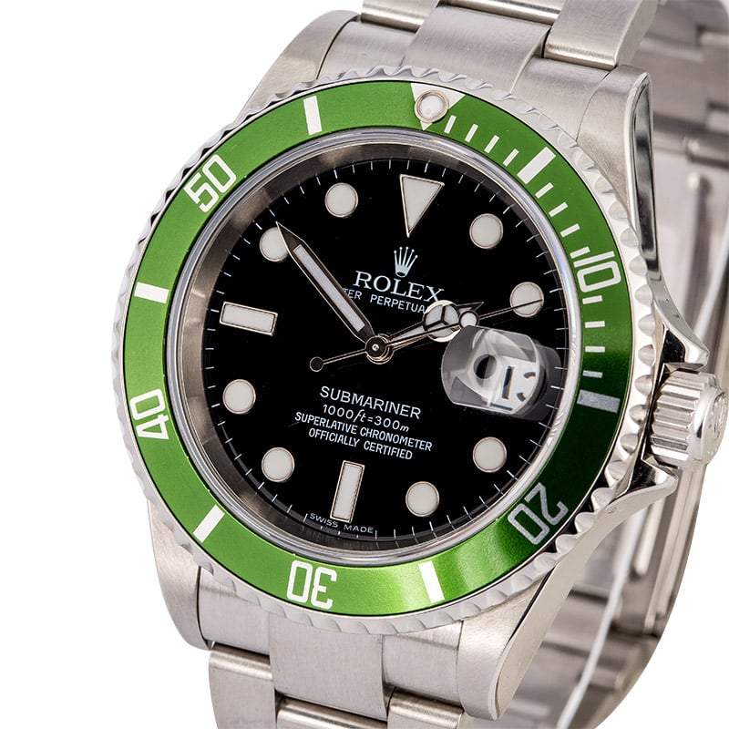 rolex 50th anniversary submariner 16610v kermit. Black Bedroom Furniture Sets. Home Design Ideas