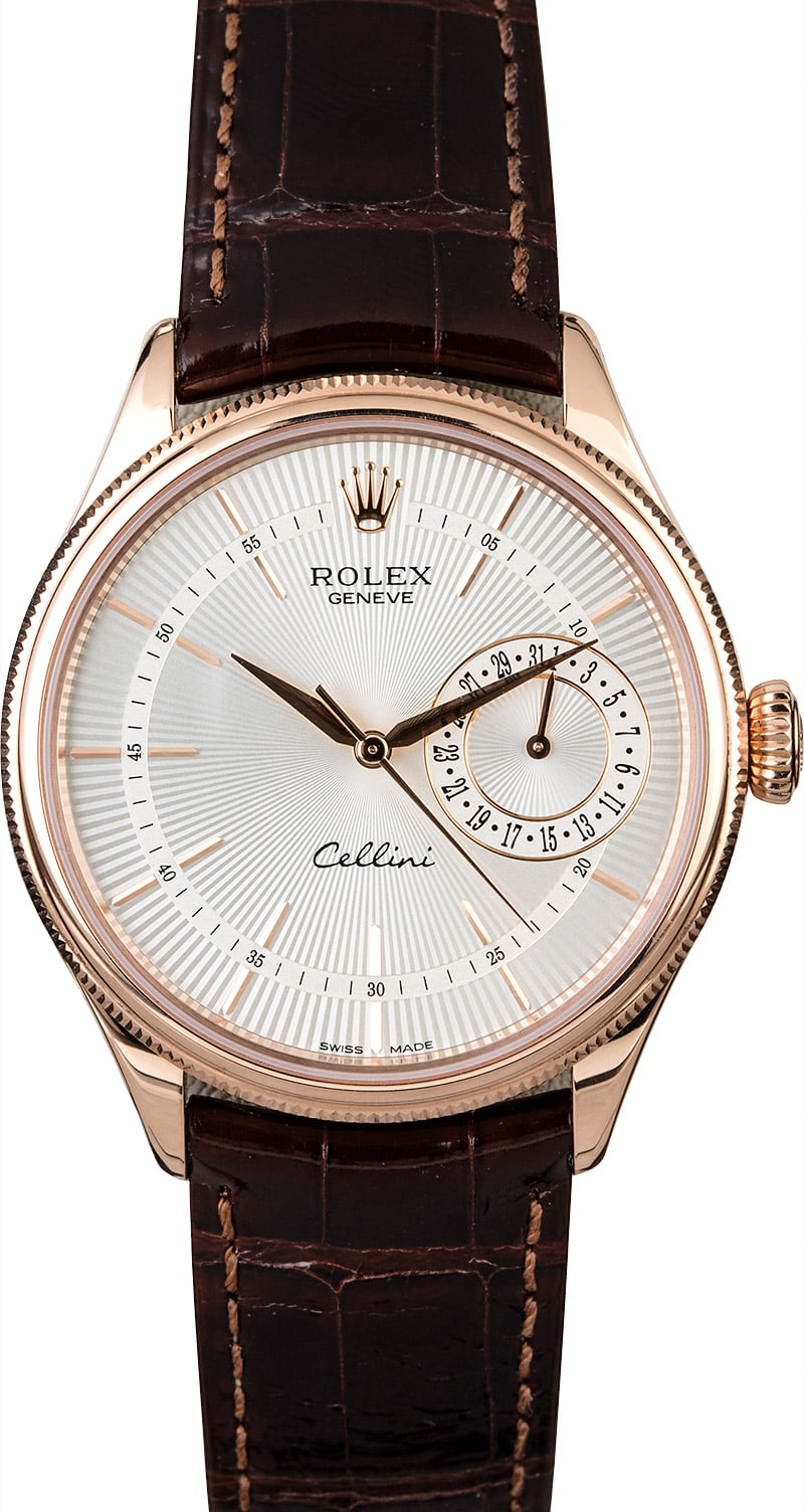 Rolex cellini 50515 silver guilloche dial for Rolex cellini
