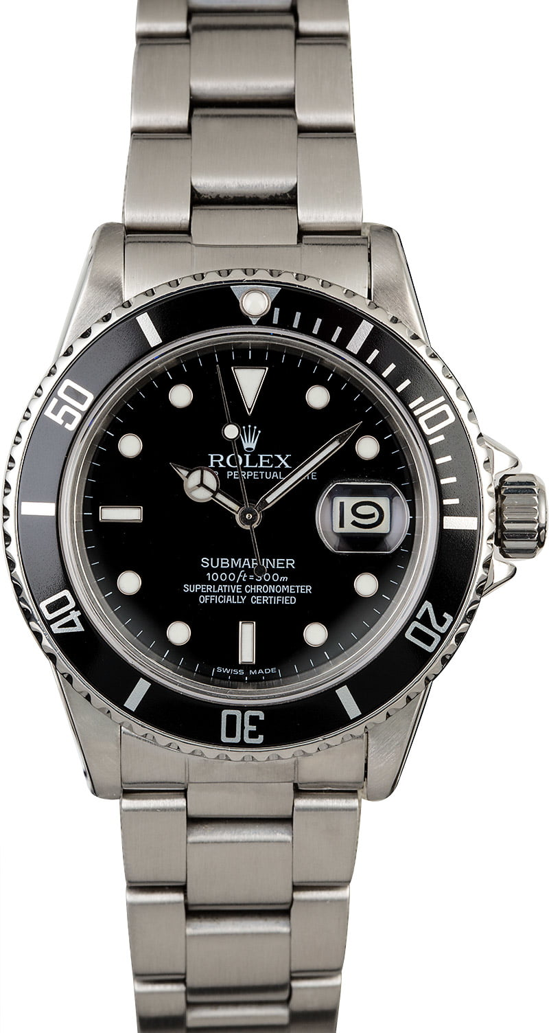 Certified Pre Owned >> Buy Used Rolex Submariner 16800 | Bob's Watches - Sku: 126135