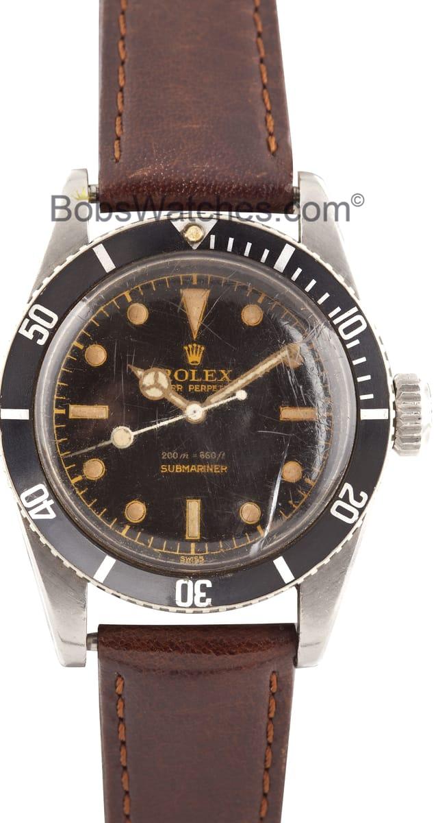 Vintage Rolex Submariner Black Dial Mercedes 6538